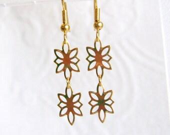 Double Small Gold Flower Pierced or Clip On Earrings