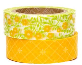 Decollections Masking Tape - Yellow Flowers & Diamonds - Set 2 - Lemon Tree