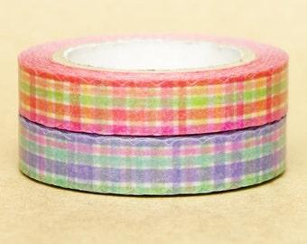 NamiNami Washi Masking Tape - Checks in Red & Blue - Slim