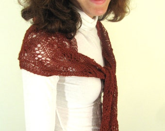 Hand Knit Sienna Rust Red-Brown Japanese Feather Lace Alpaca Silk Scarf Shawl