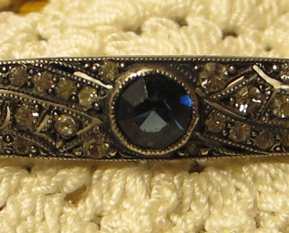 Vintage Sterling and Rhinestone Bar Pin Blue Faceted Center