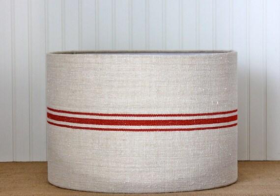 Drum Lamp Shade Lampshades Grain Sack Red Stripe Antique