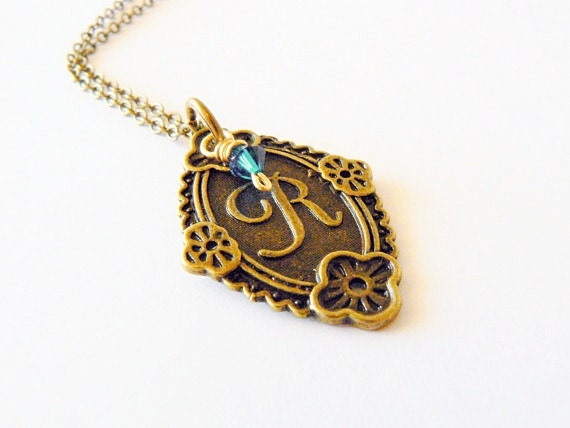 Spring blue Swarovski initial necklace. Monogram jewelry. Antique bronze. Letter R. Mother's Day, Easter.