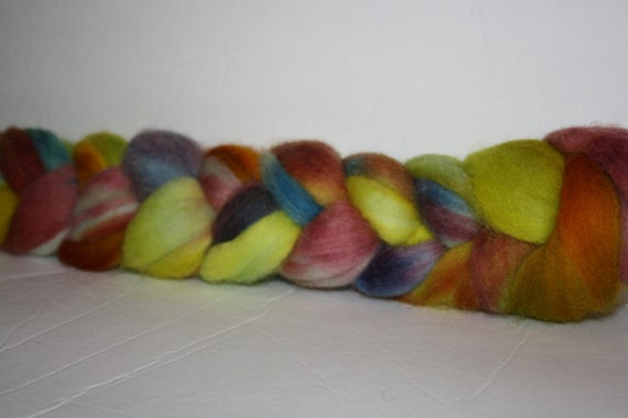 Hand Painted  Corriedale Roving for Spinning and Tie Dye One