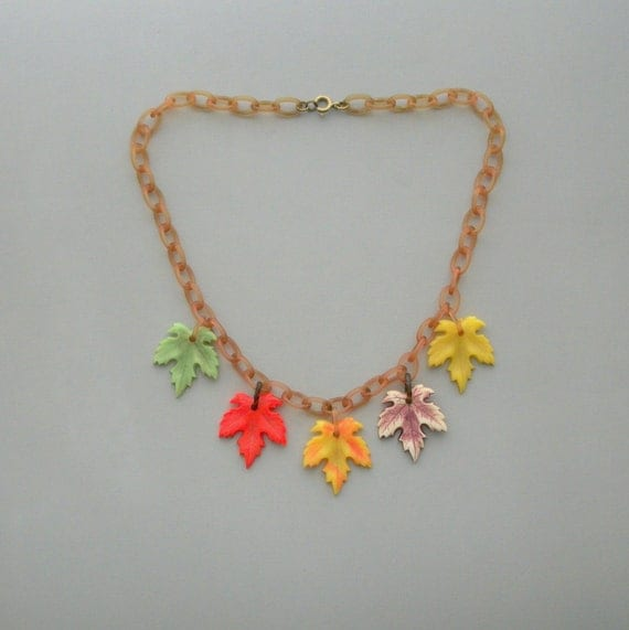 Art Deco Necklace. Celluloid Leaves. Colorful.