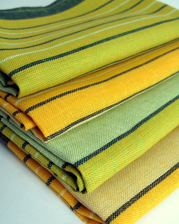 2 Organic Dish Towels. Linen and Cotton Tea Towels. Yellow and Green Stripes Eco friendly Kitchen Towels.