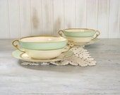 Double Handled Soup Cups with Saucers . Vintage Set of 2 . Mint Green . Pope-Gosser China . Spring Pattern