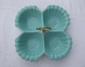 Retro Vintage CAL Number 42 USA Pottery Dish Aqua Color 4 Sectional Serving Dish Tray
