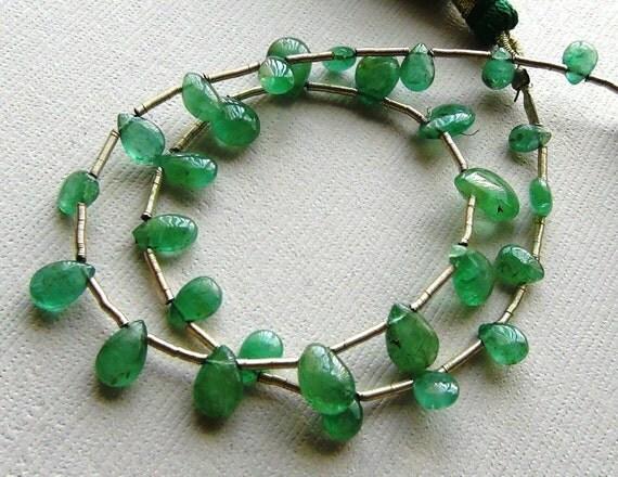 Zambian Emerald smooth polish pear briolette- 5-8mm- 29 brios- Full Strand