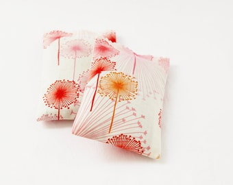 Spring Floral Lavender Sachets, Scented Drawer Sachets, Pink Red Orange Dandelion Puff
