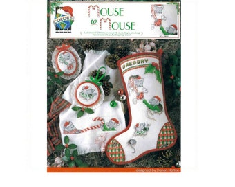 Cross Stitch Christmas Pattern #BLC- 10033 Mouse To Mouse Hand Embroidery