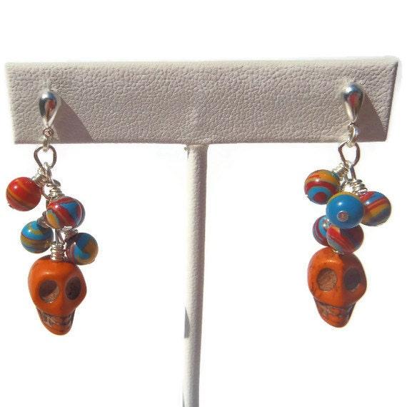 Orange Skulls and Multi Colore Turkey Turquoise Dangle Earrings - Post backs