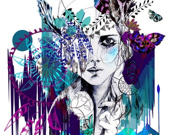 Tribal Girl - colourway - // A2 Giclée print // FASHION ILLUSTRATION by Holly Sharpe