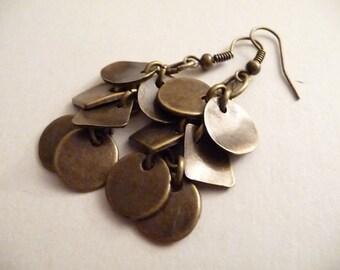 Copper Cluster Earrings, Cluster Earrings, Dangle Earrings, Round Earrings