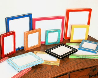 "picture frame 8x8 or 8x10 ""Mighty Mini"" 1"" wide Colored shabby weathered distressed barnwood style You choose color from 63 colors"