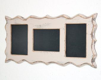 Collage Whimsical Picture frame multi opening 3) 4x6 or 5x7 openings Multiple Shabby Whimsical  Story Board