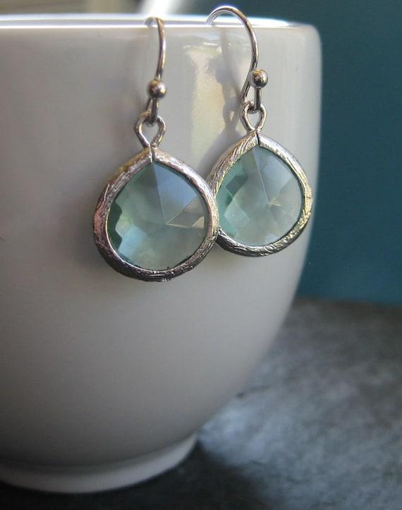 Delicate Aquamarine Glass Drop Earrings