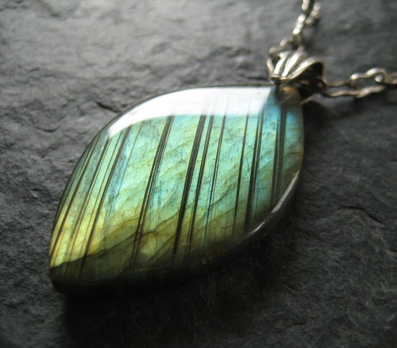 Marquise Shaped Labradorite Pendant with Blue Green and Golden Flashes