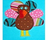 Thanksgiving Shirt Girls Funky Turkey Turquoise for Children Baby or Toddler