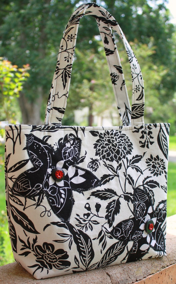 Original Black and White Concealed Carry Purse with Button Accents