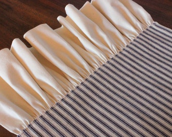 Ruffled Striped Ticking Table Runner - Select Muslin or Ticking Ruffle - Different Lengths and Colors Available