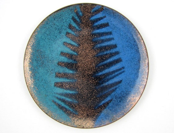 Trinket Tray - Vintage Small Enameled Dish with Abstract Mid Century Modern Frond Design in Blues & Metallic Gold