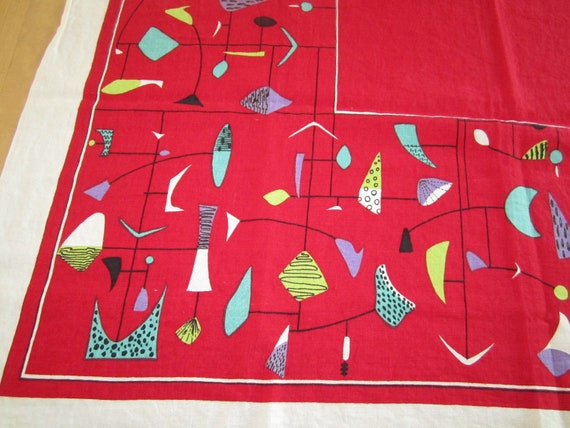 RARE Vintage Tablecloth Mid Century