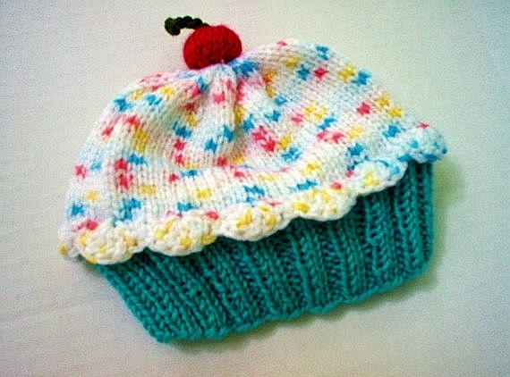 Knitting Pattern Cupcake Beanie : Cupcake Hat preemie newborn baby toddler Cherry by ...
