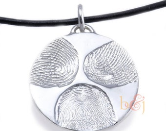 Custom fingerprint family pendant in Sterling Silver