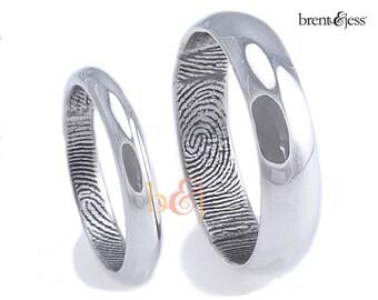 3mm/6mm Set Sterling Silver Traditional Half Round Fingerprint wedding Rings with High Polish Finish - fingerprint rings