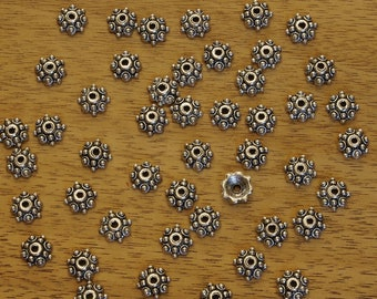 Bali Style Pewter Antiqued Silver Plated Bead Caps 8mm - 50