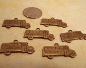 6 Pcs Plated Brass Stampings,  School Bus Charms, Jewelry Findings, Art Supplies