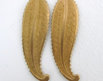 Vintage Brass Stamping Scalloped Embossed Leaves 50mm stp0044 (2)