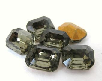 Vintage Glass Rhinestone Jewel Black Diamond Octagon 10x8mm rhs0305 (6)