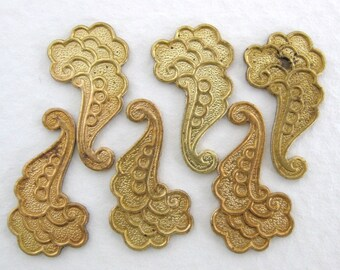 Vintage Brass Stamping Scalloped Flourish 17mm stp0147 (6)