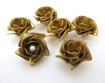 Vintage Brass Beads Rose Flower Cabochon Metal Findings 12mm vfd0197 (6)