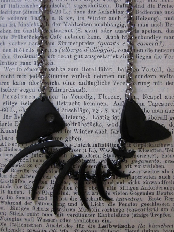 Large Black Fish skeleton necklace