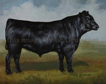 Black Angus print from painting