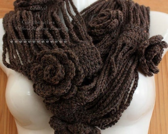 Cosy Chocolate Rose Winter Warmer Infinity Scarf