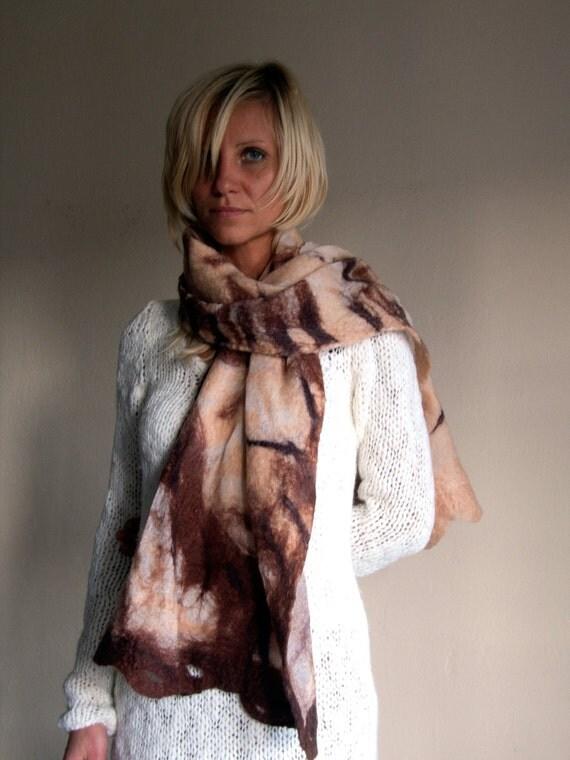 Nuno felted silk scarf. Autumn colored felt silk scarf-Long felt scarf in beige and brown. Silk chiffon scarf felted. Fall felted scarf
