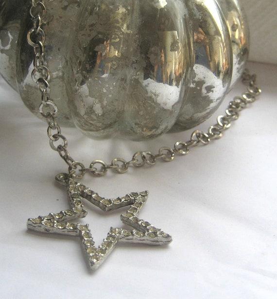 Vintage Silver Rhinestone Star Pendant Chain Necklace