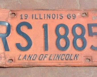 Illinois 1969 Land of Lincoln License Plate