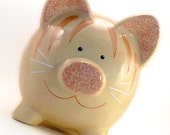 Kitty Cat Piggy Bank - Orange Tabby Piggy Bank - Personalized Cat Piggy Bank - Kitty Bank - Ceramic Bank - with hole or NO hole in bottom