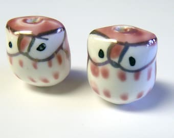 Pink Bright eyed baby Owls Beads