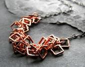 Geometric necklace copper and gunmetal chain minimal modern - Aptitude