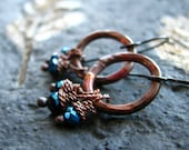 Copper earrings hammered rustic circle mystic glass beads fire kissed patina  - The Witching Hour