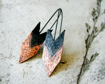 Arrow earrings, hammered copper earrings, two-tone patina, oxidized sterling silver, tribal earrings, rustic earrings, modern - Huntress