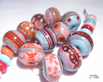 CABARET Lampwork Beads Handmade Pretty COlors of Pink Coral Blue Red  Big Bold Free Flow Set of 23
