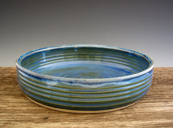 Round Baking Dish in Blue and Green - Pottery - by DirtKicker Pottery
