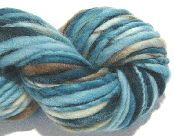 thick and thin bulky handspun yarn Beachcomber blue brown teal merino wool yarn, 48 yards